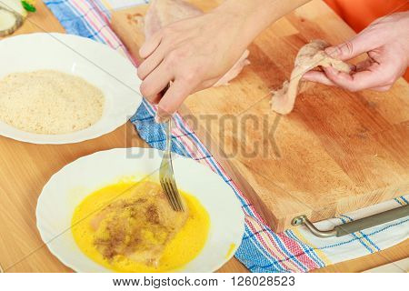 Preparing Meal Of Breaded Chicken Cutlets