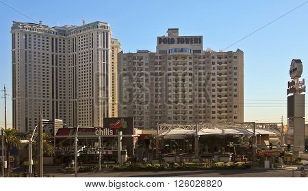 LAS VEGAS, NEVADA, DECEMBER 28. Las Vegas Blvd on December 28, 2015, in Las Vegas, Nevada. The Polo Towers by Diamond Resorts International on Las Vegas Boulevard in Las Vegas Nevada.
