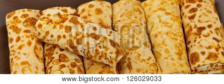Russian Stuffed Blintzes Isolated on White. Selective focus.