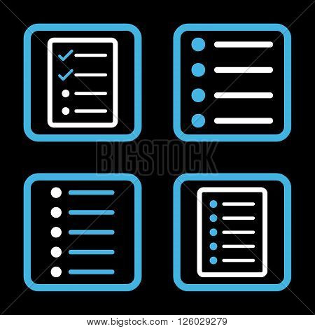 List Items vector bicolor icon. Image style is a flat icon symbol inside a square rounded frame, blue and white colors, black background.