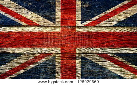 Great britain flag on old wood background retro effect image