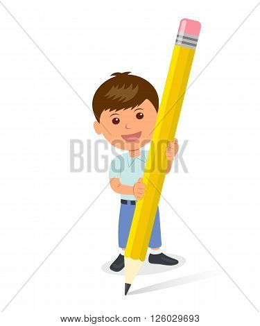 Cheerful boy holding a yellow pencil. The isolated character of a child standing with a pencil. Concept design of a schoolboy holds pencil. Template background for Teachers' Day or Children's Day.