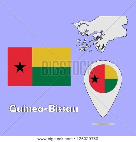 A pointer map and flag of Guinea-Bissau