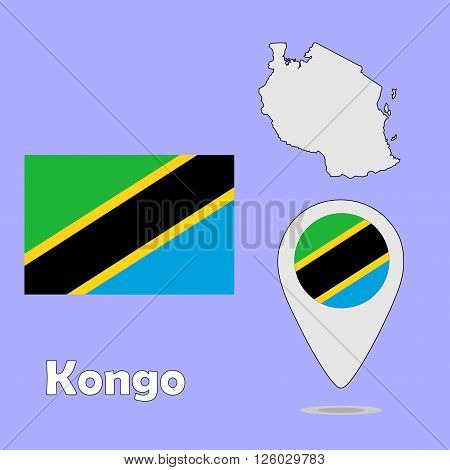 A pointer map and flag of Kongo