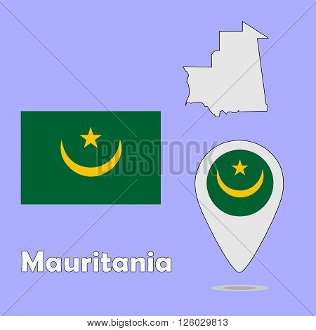 A pointer map and flag of Mauritania