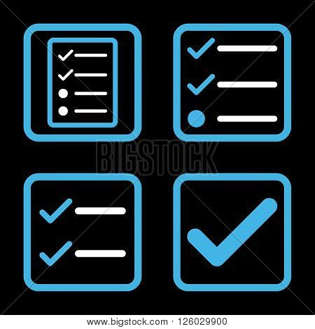 Valid vector bicolor icon. Image style is a flat icon symbol inside a square rounded frame, blue and white colors, black background.