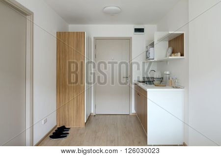 Interior of pantry with utensil in modern apartment