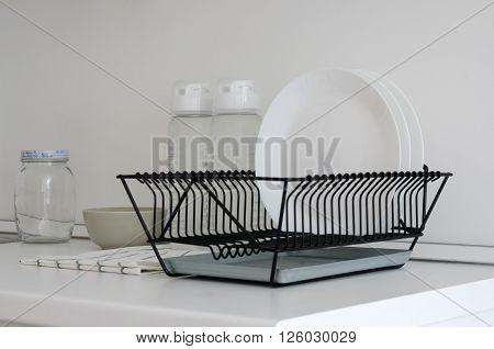 Utensil on white top counter in modern pantry