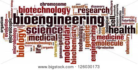 Bioengineering word cloud concept. Vector illustration on white