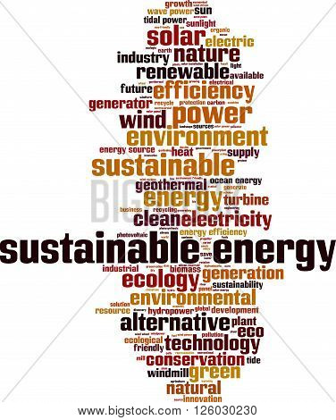 Sustainable energy word cloud concept. Vector illustration