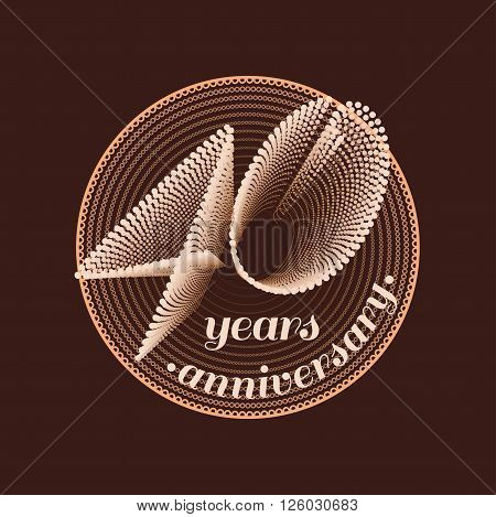 40 years anniversary vector icon. 40th celebration design. Golden jubilee symbol