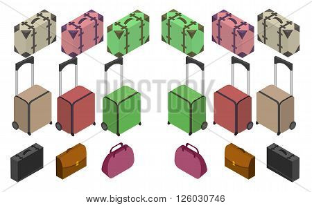 Travelers suitcases. The objects are isolated against the white background. Suitcase large polycarbonate suitcase. Travel plastic suitcase with wheels realistic. Flat 3d Vector isometric illustration.