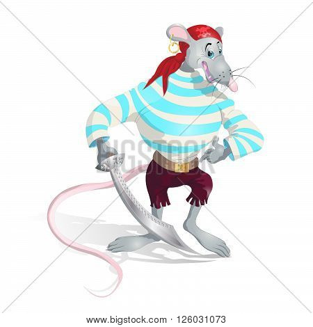 rat pirate with sword isolated colored vector illustration