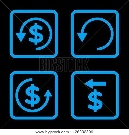Chargeback vector icon. Image style is a flat icon symbol inside a square rounded frame, blue color, black background.