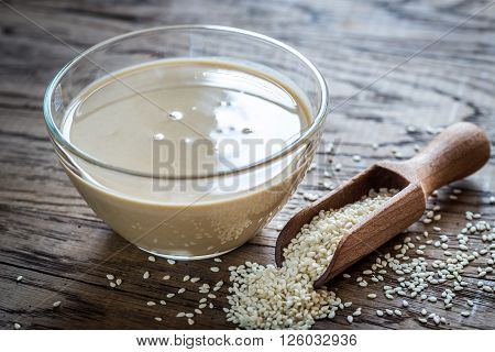 Bowl Of Tahini With Sesame Seeds