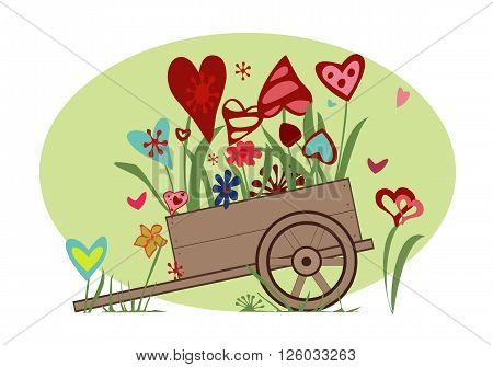 Flower arrangement from blooming hearts in the cart symbolizing joy love and happiness.