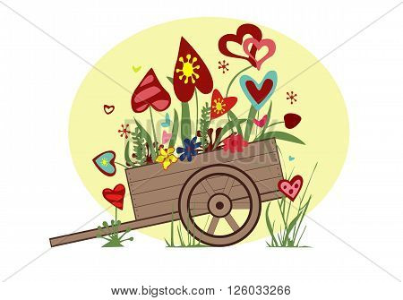 Flower arrangement from blooming hearts in the cart symbolizing joy love and happiness vector