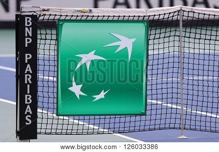 KYIV UKRAINE - APRIL 16 2016: Details of central court of Campa Bucha Tennis Club during BNP Paribas FedCup game Ukraine vs Argentina Kyiv Ukraine