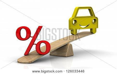The interest rate on the car loan. Red percent sign and symbol of the vehicle weighed on the scales. The interest rate on the car loan. Financial concept. Isolated. 3D Illustration