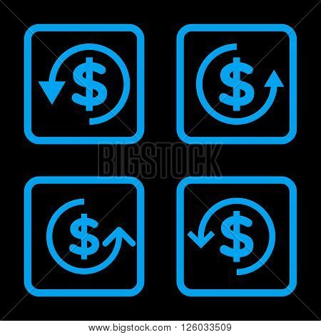 Refund vector icon. Image style is a flat icon symbol inside a square rounded frame, blue color, black background.