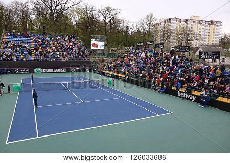 KYIV UKRAINE - APRIL 16 2016: Panoramic view of central court of Campa Bucha Tennis Club during BNP Paribas FedCup game Ukraine vs Argentina Kyiv Ukraine