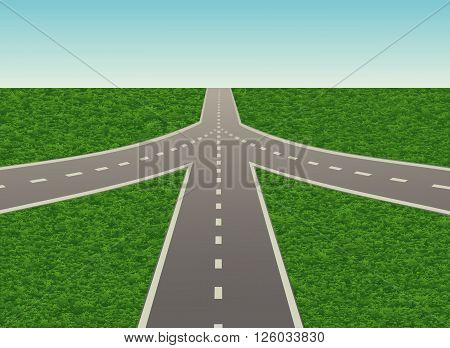 Road junction on the highway. Vector illustration. Horizontal.