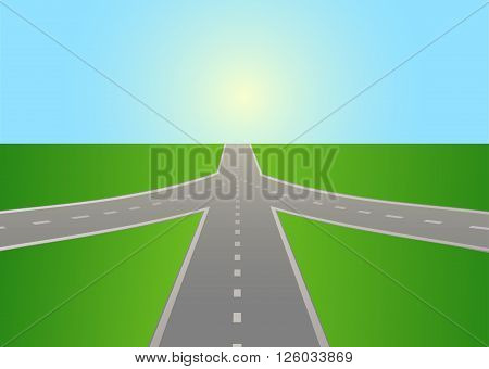 The intersection of the highway. Vector illustration. Horizontal.