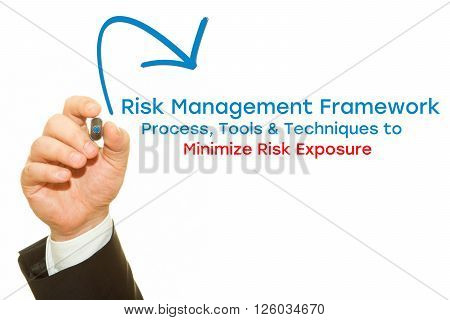 Businessman hand writing Risk Management Framework. Process, Tools & Techniques to Minimize Risk Exposure. Risk Management concept.