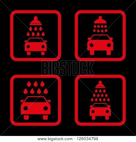 Carwash vector icon. Image style is a flat icon symbol inside a square rounded frame, red color, black background.