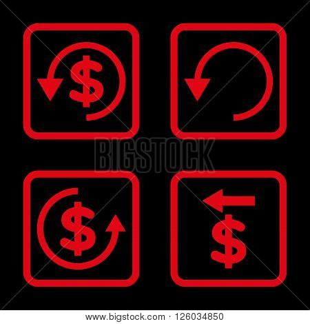 Chargeback vector icon. Image style is a flat icon symbol inside a square rounded frame, red color, black background.