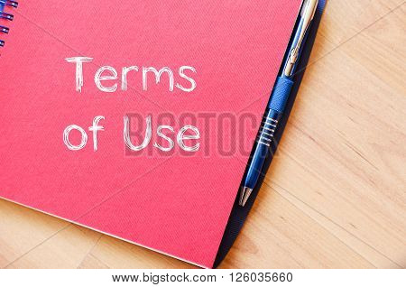 Terms of use text concept write on notebook