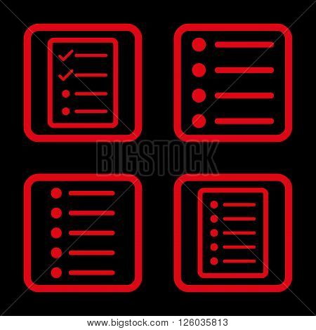 List Items vector icon. Image style is a flat icon symbol inside a square rounded frame, red color, black background.