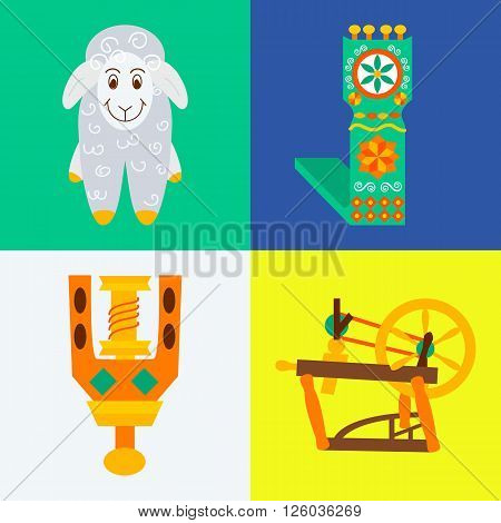Four flat handmade knitting sewing concepts.Vector illustration objects felting wool on whiteblueyellow and green.