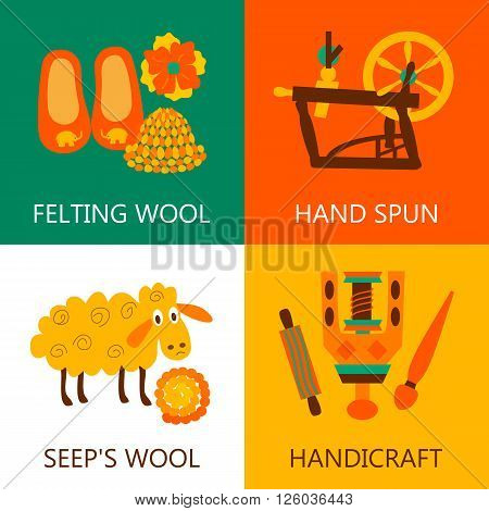 Four flat wool felting concept..Vector illustration objects felting wool on whitegreenorange and white.