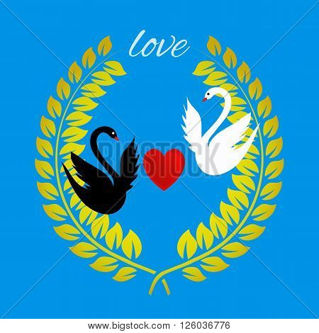 Love greeting card with a heart and swans on blue. Vector illustration of wreath with swans and heart.
