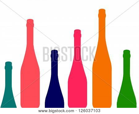 Set of wine bottles isolated on white background.Wine bottle colorful.Background with wine bottles.Bottles color silhouette vector.