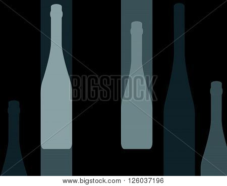 Set of wine bottles isolated on white background.Wine bottle colorful.Background with wine bottles.Bottles silhouette vector.
