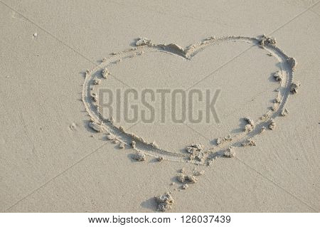 Heart Sign Of Love On Sand At Beach