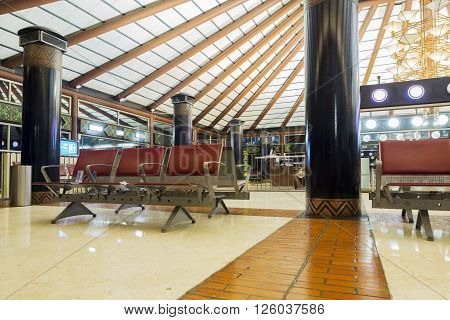 JAKARTA INDONESIA APRIL 5 2016 : Passenger lobby in Jakarta (Soekarno-Hatta) International Airport is the main airport on the island of Java