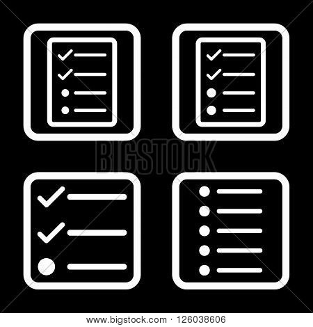 List Items vector icon. Image style is a flat icon symbol inside a square rounded frame, white color, black background.