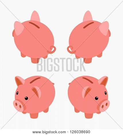 Isometric piggy bank. Set of the piggy moneyboxes. The objects are isolated against the white background and shown from different sides