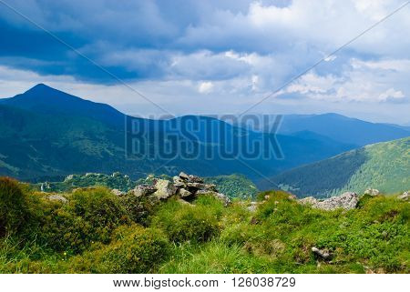 Beautiful green Carpathian mountains in the daytime