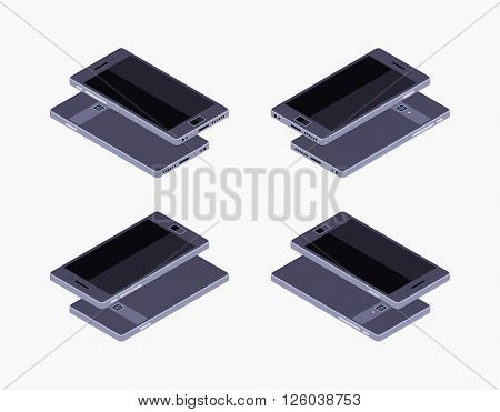Set of the lying isometric generic black smartphones. The objects are isolated against the white background and shown from different sides