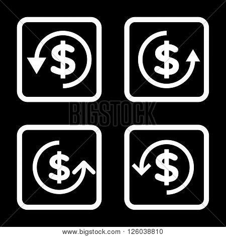 Refund vector icon. Image style is a flat icon symbol inside a square rounded frame, white color, black background.