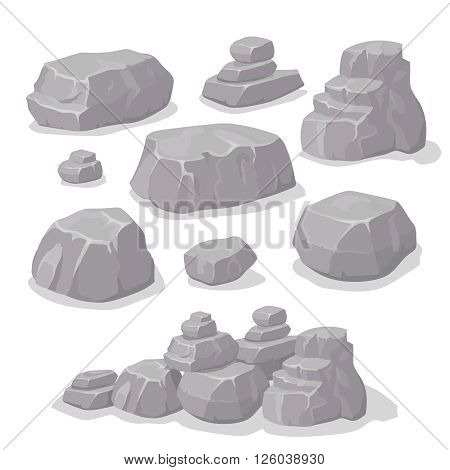 Set of stones, rock elements different shapes cartoon style set, flat design, isometric stones , vector