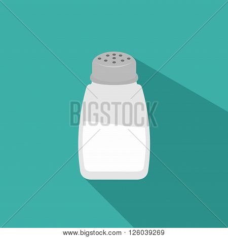 Salt shaker icon in flat style isolated on background.  Baking and cooking ingredient. Food seasoning. Kitchen utensils salt shaker. Vector illustration
