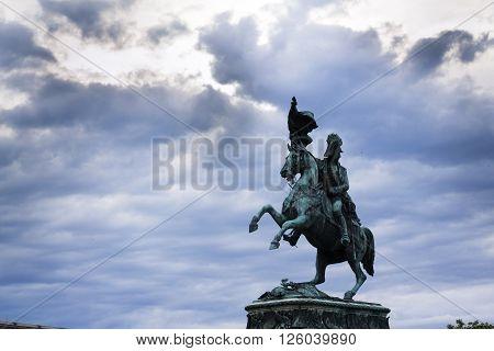 Archduke Charles Of Austria Statue On Heldenplatz In Vienna With Dramatic Sky