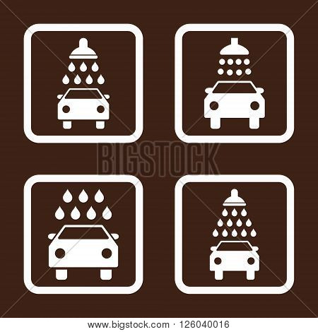 Carwash vector icon. Image style is a flat icon symbol inside a square rounded frame, white color, brown background.