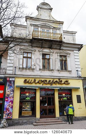 ZAKOPANE POLAND - MARCH 06 2016: Europejska famous Cafe in the place of the former bookstore previously owned by bookseller and publisher Leonard Zwolinski located in townhouse built in 1900