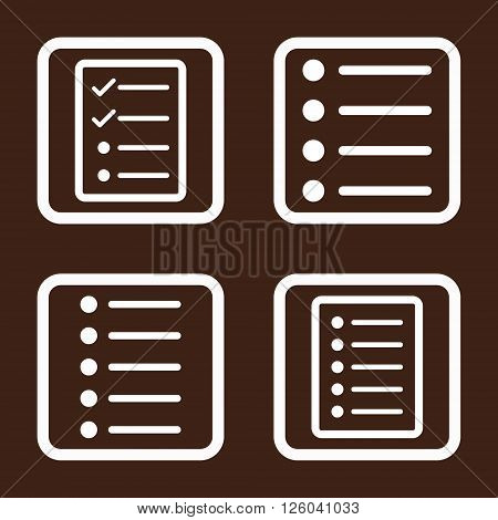 List Items vector icon. Image style is a flat icon symbol inside a square rounded frame, white color, brown background.